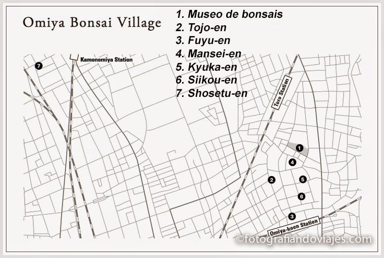 plano de situación de los jardines de bonsais y el museo de Omiya