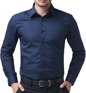 Being Fab Men's Shirt Solid Formal Blue