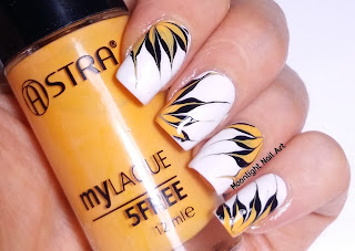 Drag Dry Marble Nail Art Design in White, Yellow and Black
