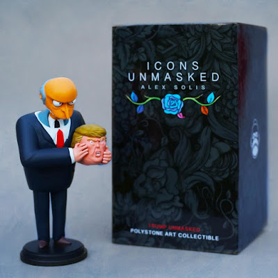 "Icons Unmasked ""Trump Unmasked"" Donald J. Trump x The Simpsons Polystone Art Toy Collectible by Alex Solis"