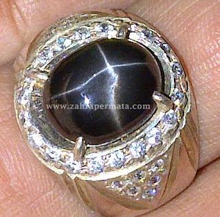 Cincin Batu Permata Black Star Diopside
