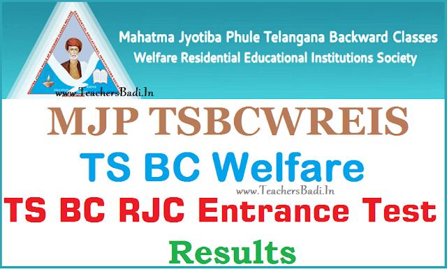 MJP TS BC Welfare,RJC CET,Results,Telangana BC Welfare TSRJC CET 2017 Results