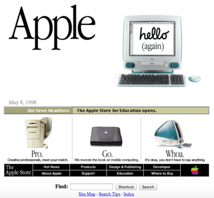 screenshot sito apple nel 1998