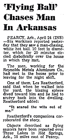 Flying Ball Chases Man In Arkansas - The Detroit Times 4-24-1954