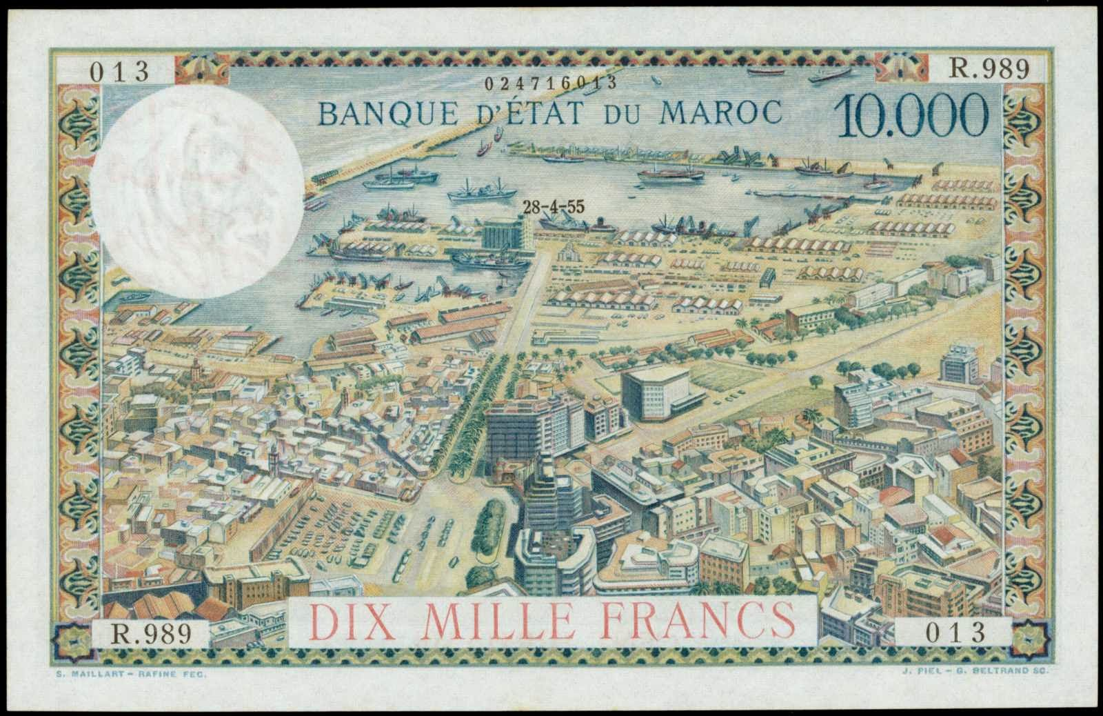 Morocco money currency 100 Dirhams 10000 Francs banknote view of Casablanca