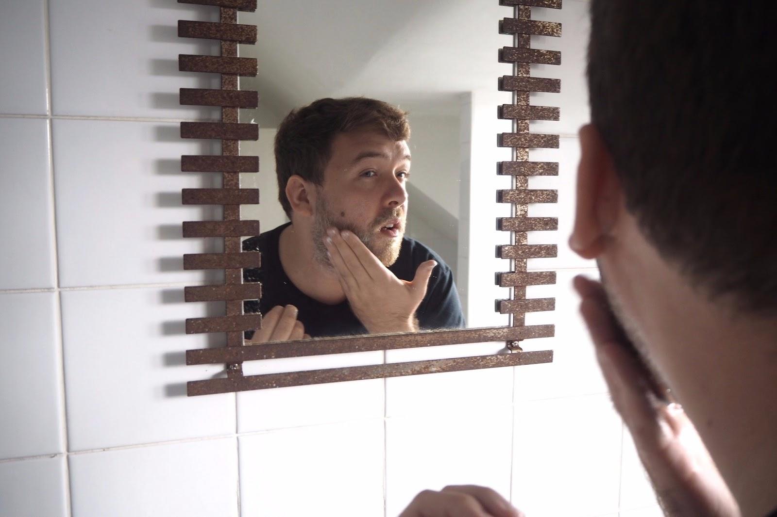 Applying face scrub