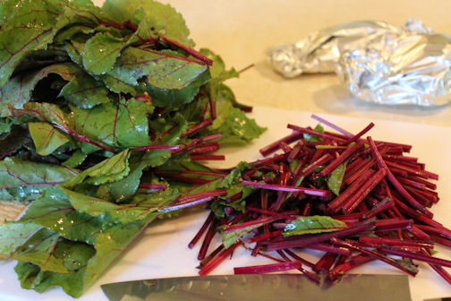 Beet leaves and stems