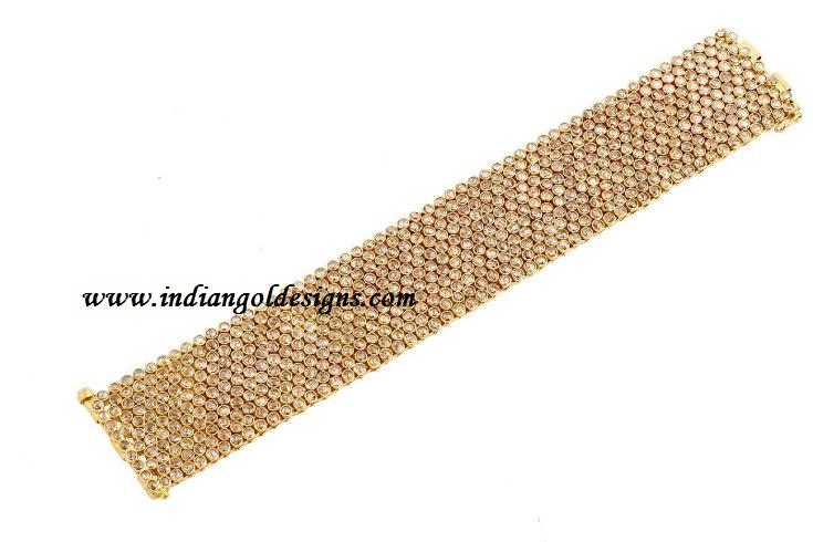 Gold and Diamond jewellery designs uncut diamond bracelet