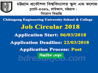 Chittagong Engineering University School & College Teacher Job Circular 2018