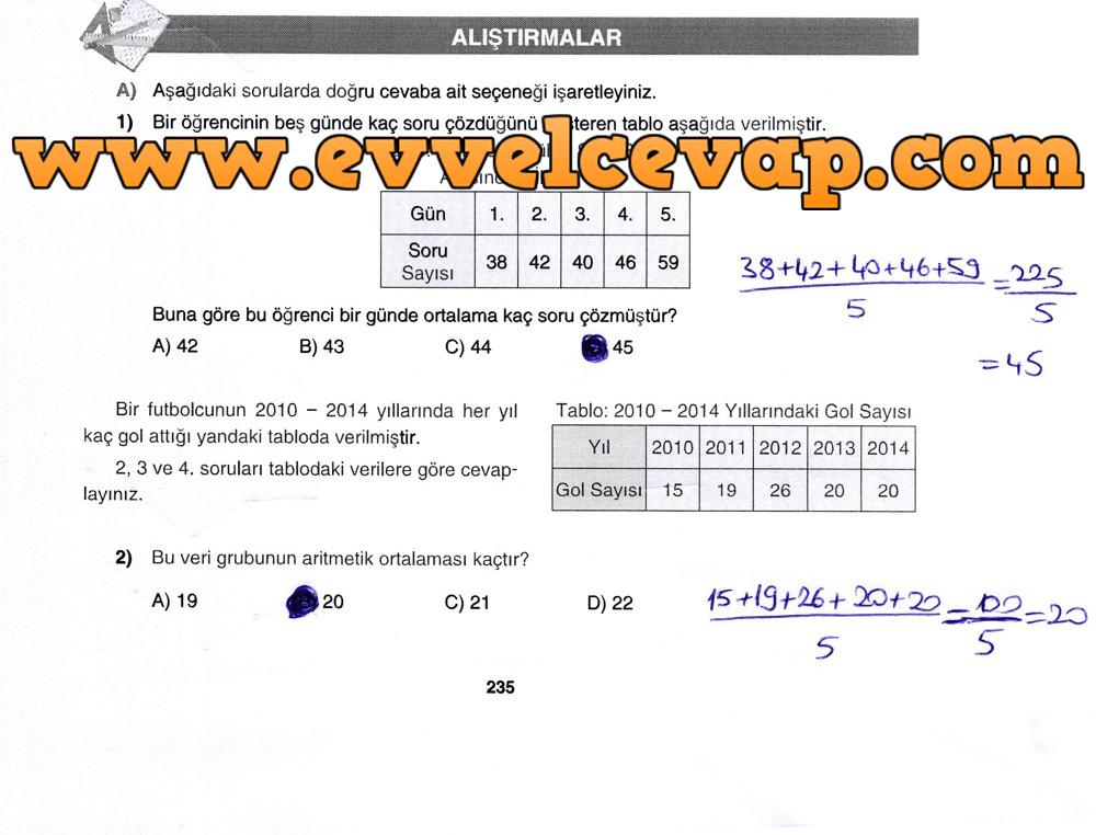 7. Sınıf Gizem Yayınları Matematik Ders Kitabı 235. Sayfa Cevapları Aritmetik Ortalama, Ortanca ve Tepe Değer
