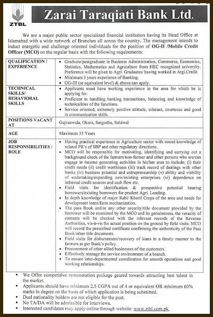 OG II MCO Credit Officers Jobs in ZTBL 2018
