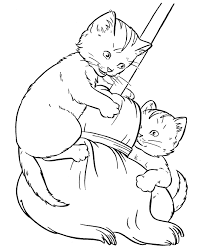 Cute Pussy Cats Coloring Sheet For Kids