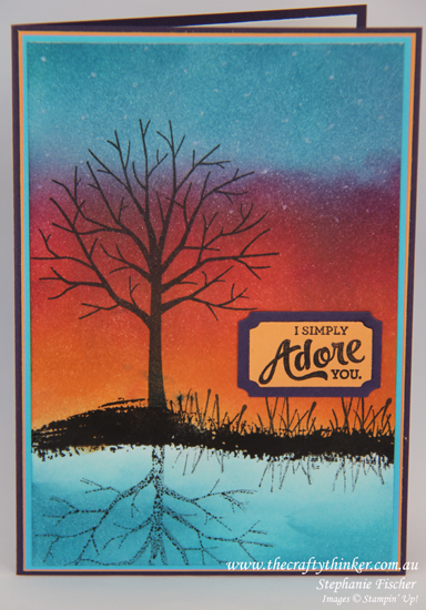 Stampin Up, #thecraftythinker, Sheltering Tree, Reflection technique, Sponging, Sunset, Stampin Up Australia Demonstrator
