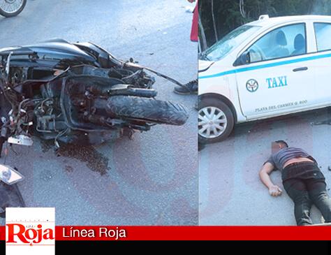 Fallece motociclista en un accidente de tránsito en la colonia Misión de las Flores de Playa del Carmen