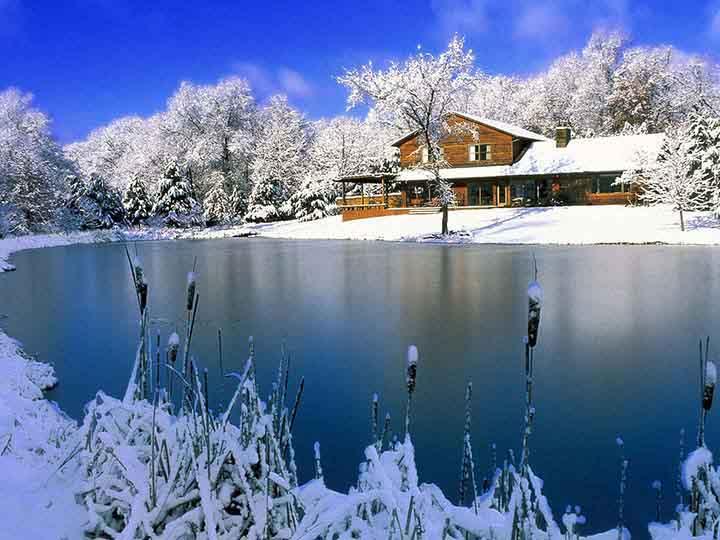 Göl Kenarında Karlı Ev Resimyurdu