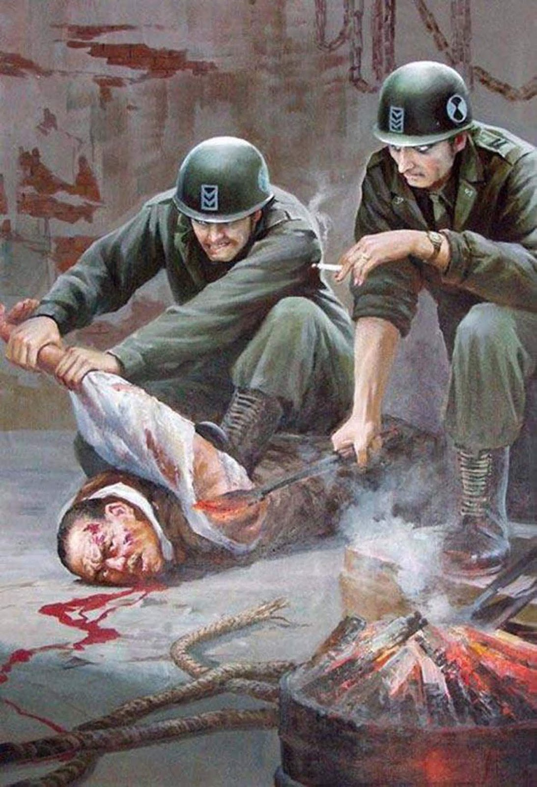 One painting shows a soldier burning the armpit of a man.
