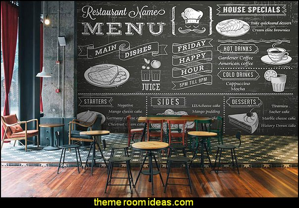 blackboard wallpaper murals  cafe bistro kitchen mural wallpaper Paris cafe wallpaper cafe restaurant living room wall mural  cafe wall papers cafe bistro home decor