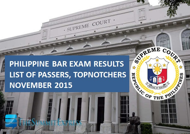 November 2015 Philippine Bar Exam Results release