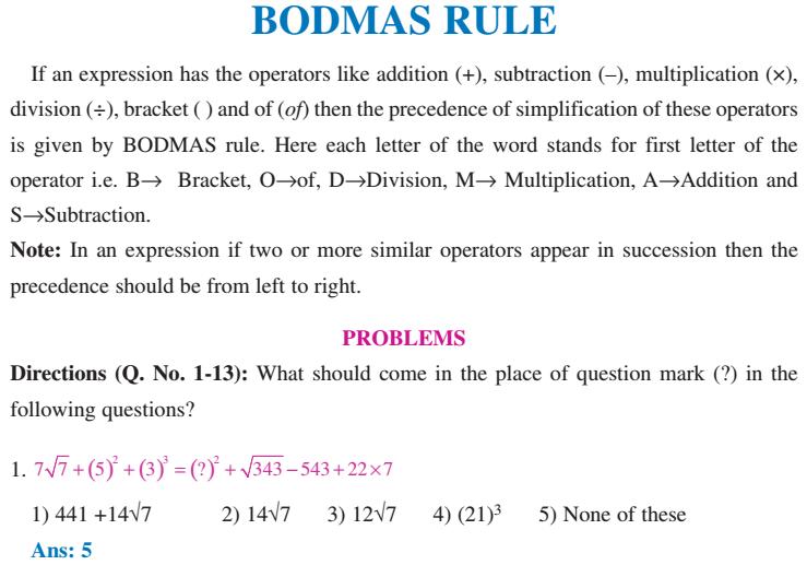 Aptitude Numerical Mathematics Bodmas Rule Solved Examples