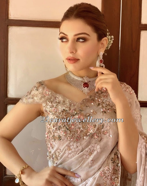 Hansika in Diamond Ruby Choker
