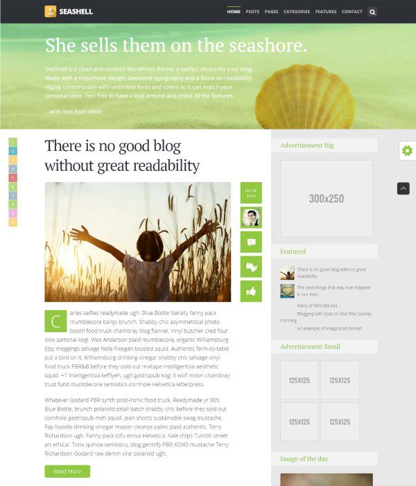 Seashell premium blog theme