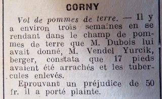 coupure de presse l'impartial vol de pommes de terre a corny 27 eure 1941