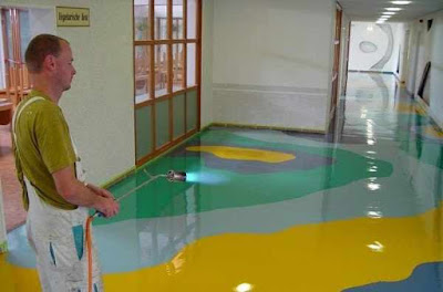 multi colored leveling epoxy floor paint for entrance