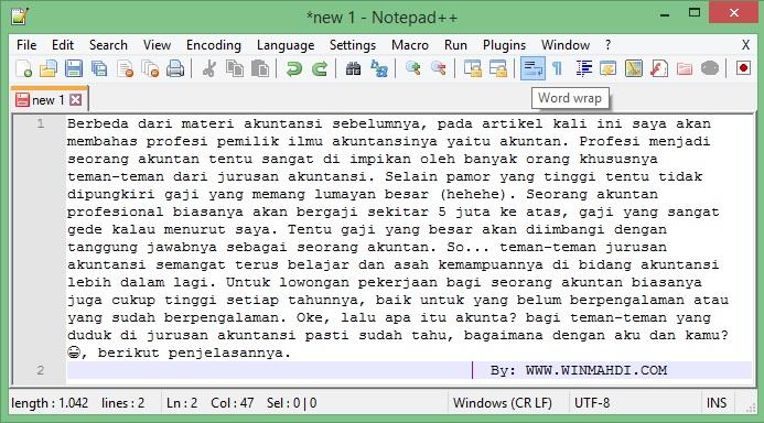 Cara Mengatur Tulisan Notepad++ Agar Tidak Memanjang