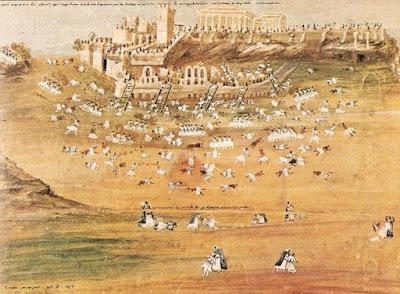 Αναπαράσταση πολικορκίας Αθηνών το 1826 μ.Χ. Σχέδιο Ζωγράφος από περιγραφές ήρωα Μακρυγιάννη