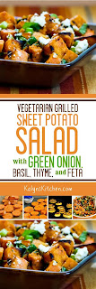 Grilled Sweet Potato Salad with Green Onion, Basil, Thyme, and Feta found on KalynsKitchen.com