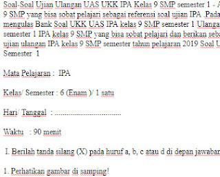 Soal-Ujian-Ulangan-UAS-UKK-IPA-Kelas-9-SMP-semester-1