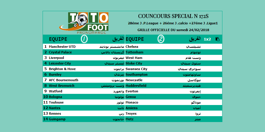 PRONOSTIC TOTOFOOT SPECIAL N 172S
