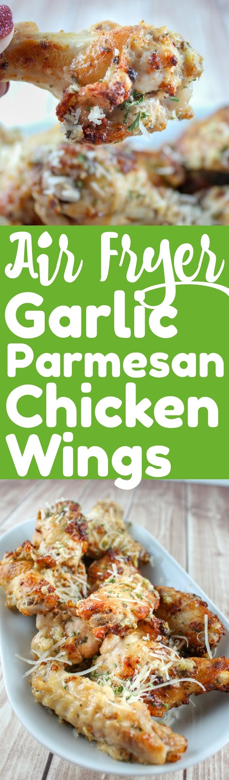 Garlic Parmesan Chicken Wings are my FAVORITE - I used to order them all the time from the pizza place up the street - but not any more! Now I make them at home in less time than the pizza delivery! These Air Fryer Garlic Parmesan Chicken Wings are the perfect dinner or party appetizer! #garlicparmesan #chickenwings #airfryer