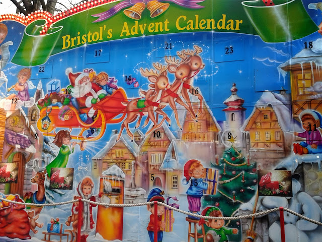 Giant advent calendar in Bristol's Christmas market