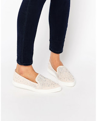 pink embellished slip on Van-style sneakers