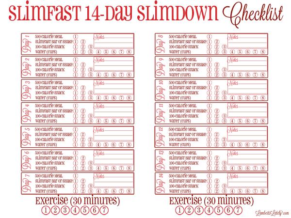 Free printable checklist to track the Slimfast 14-Day Slimdown