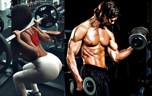Entrenamiento pesas hombre mujer masa muscular