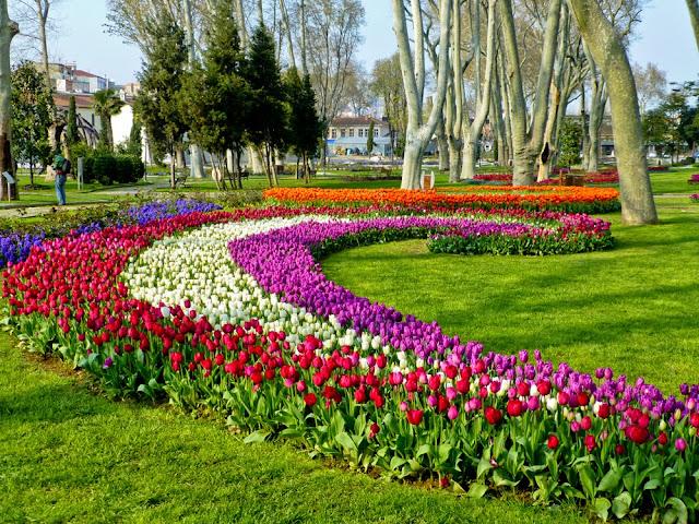 Decoración de tulipanes en Gülhane Park, Estambul