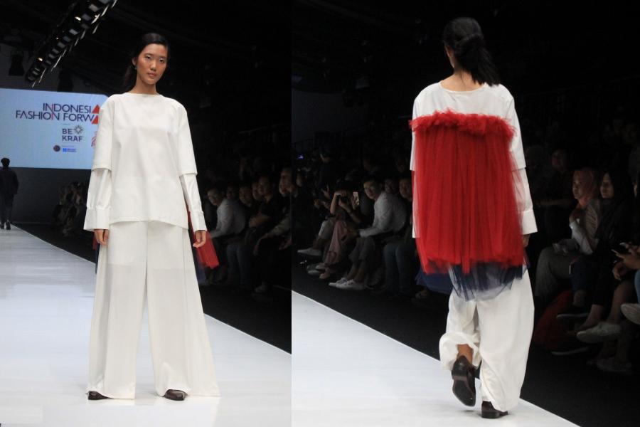 Thepengyo fashion red sheer back tulle with white suit ikyk jakarta fashion week 2017 stopboris Gallery
