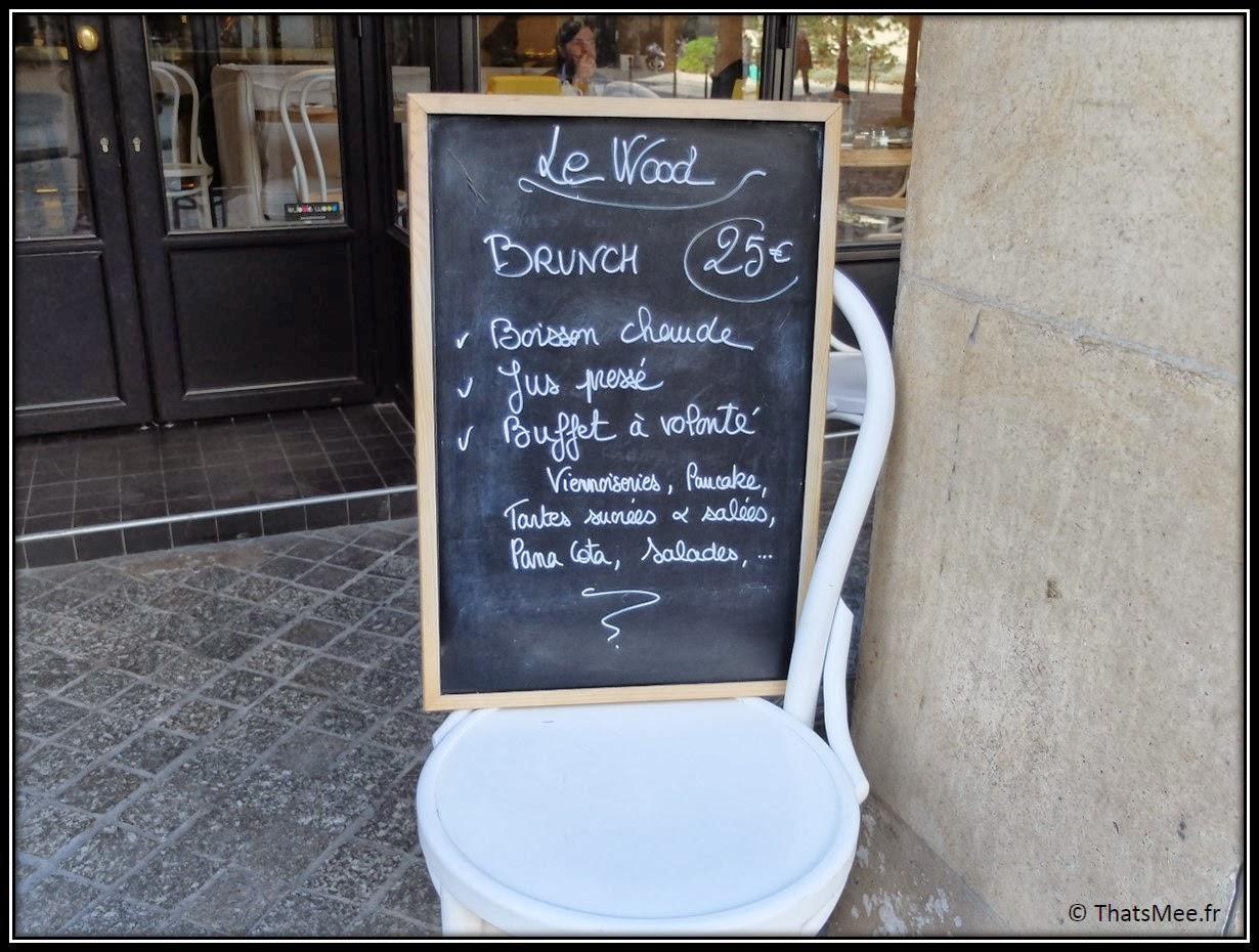 Carte restaurant le Wood brunch 25euros à volonté