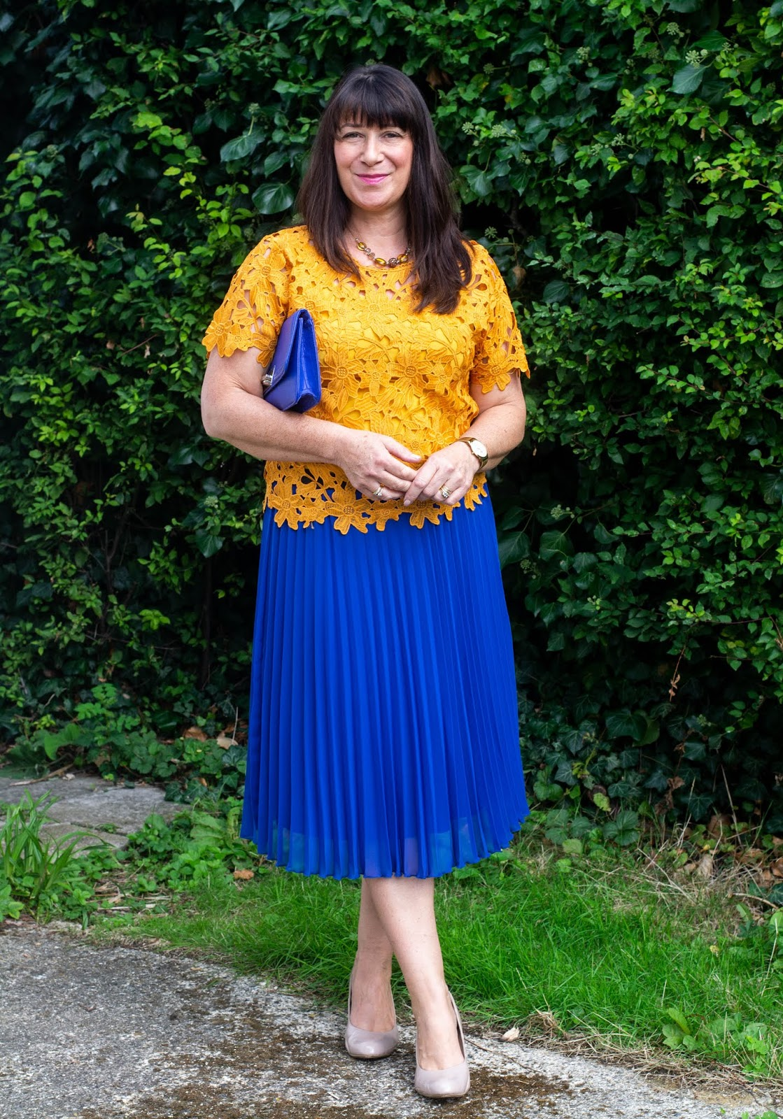 ebbed9d1c5 But no the blue pleated flouncy from Primark won hands down! I actually  styled it three ways - but here's the winner worn with a mustard lace top.