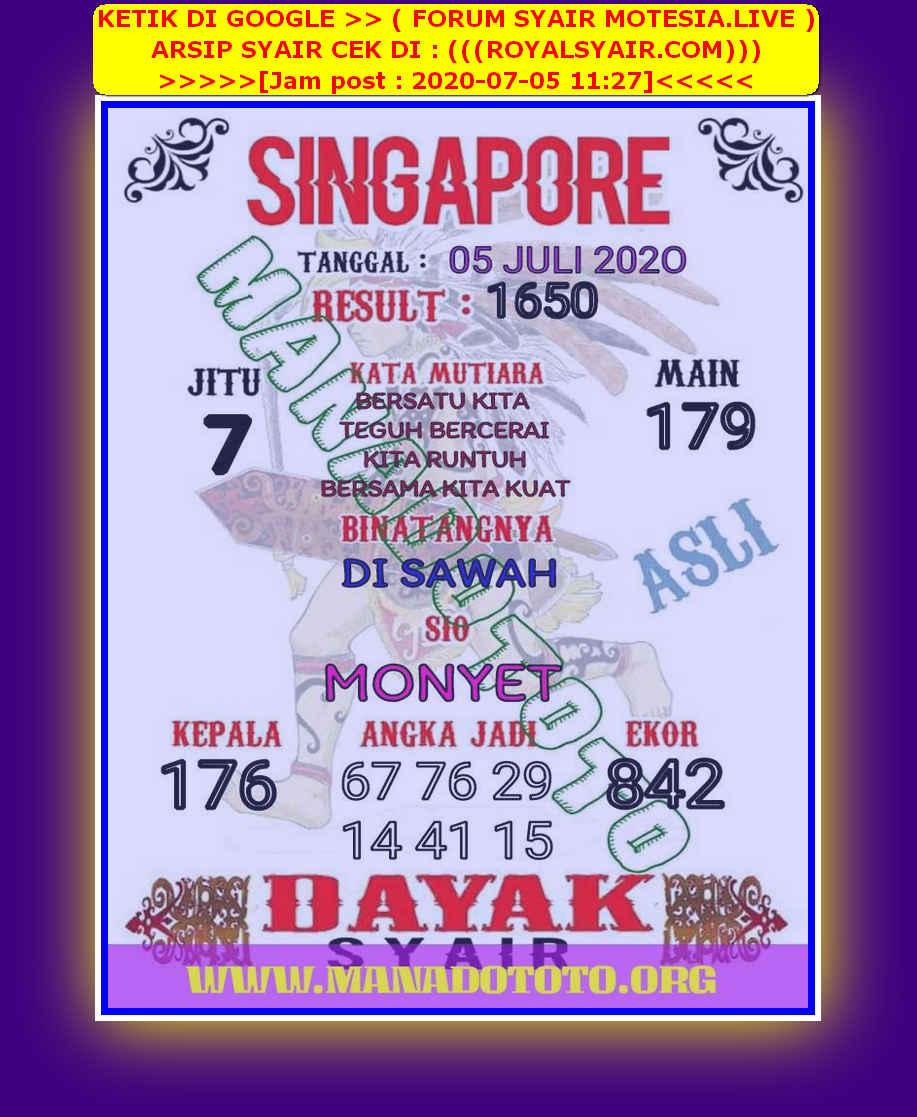 Kode syair Singapore Minggu 5 Juli 2020 47