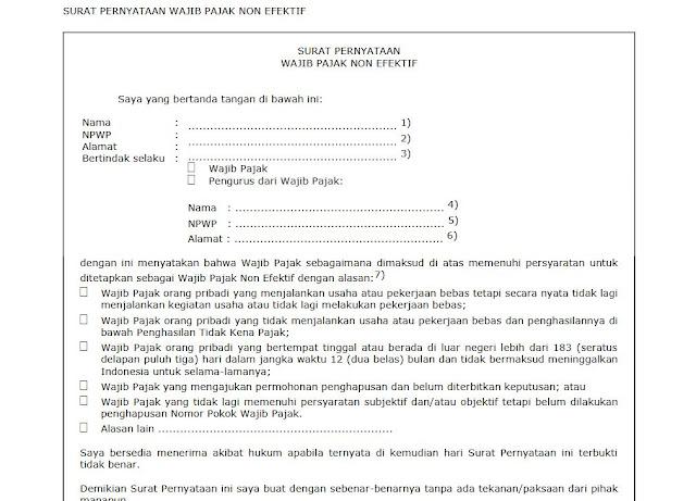 Surat Pernyataan NPWP Non Efektif