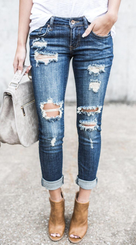 Blue Destroyed Denim Jeans