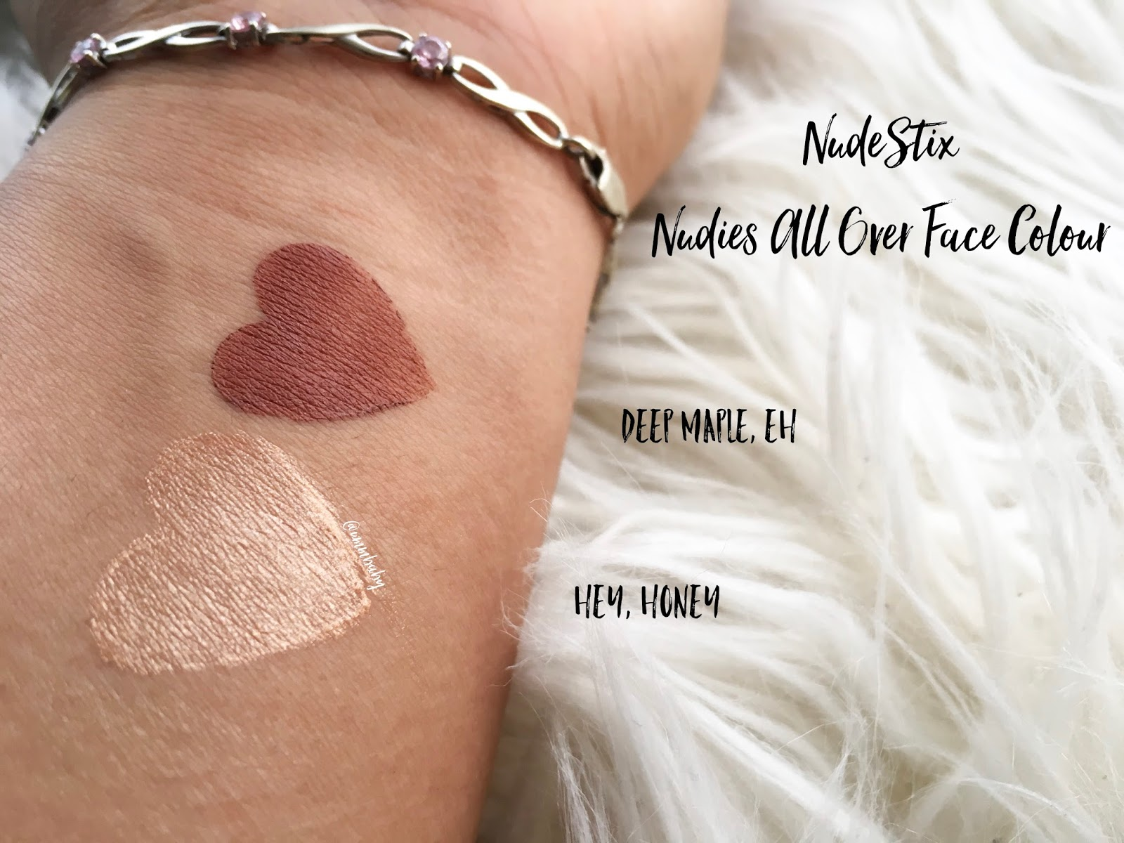 nudestix nudies swatches, medium skin swatches, nc40 swatches, nudestix nudies all over face colour swatches, nudestix nudies hey honey swatch, nudestix nudies deep maple eh swatch