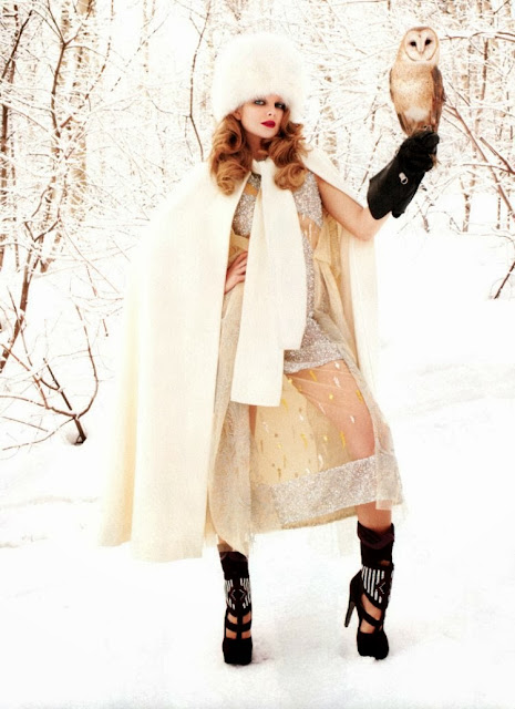 Wintry editorial featuring Eniko Mihalik shot by Terry Richardson
