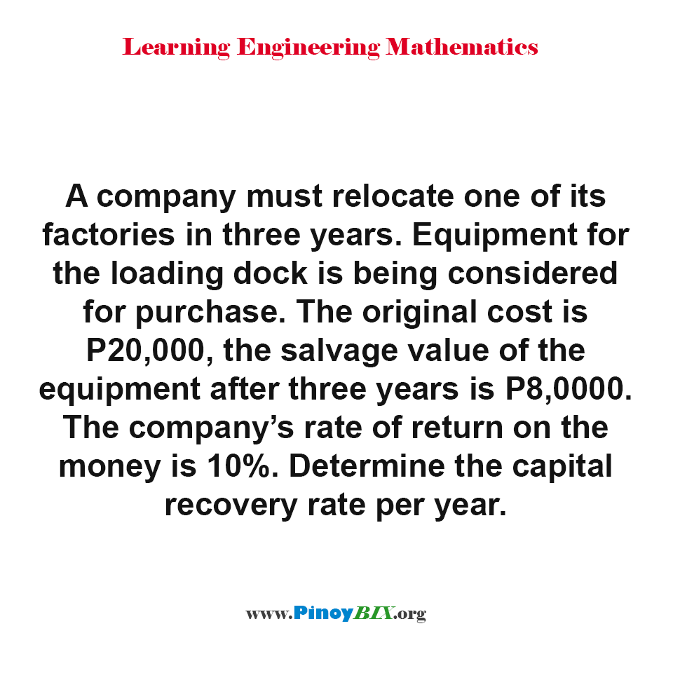 Determine the capital recovery rate per year of a company