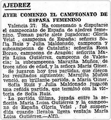 Recorte de ABC sobre el II Campeonato Femenino Individual de España, 28 de julio de 1951