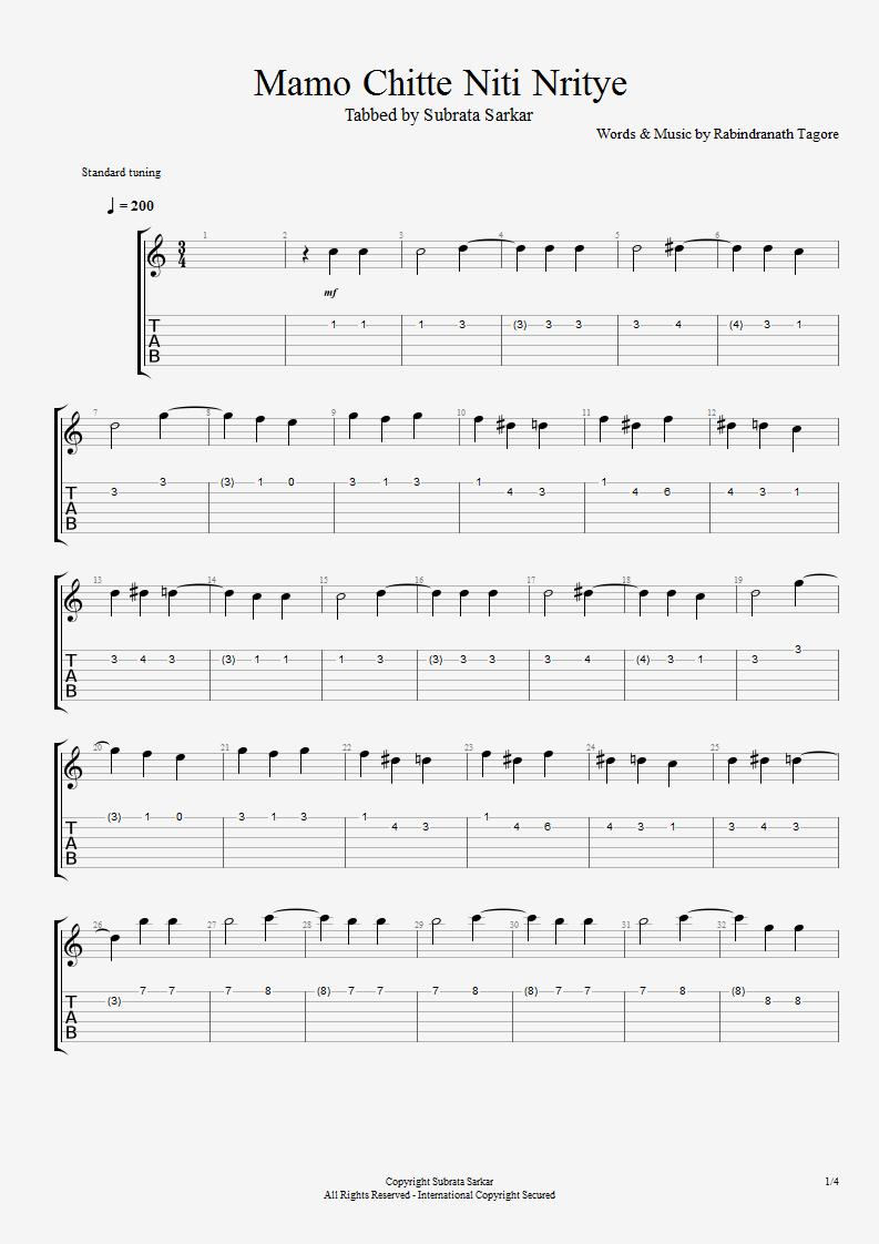 Guitar Chord Tab Lyric And Tutorial Mamo Chitte Niti Nritye Guitar