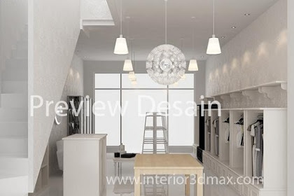 Jasa desain gambar interior butik rumahan minimalis modern